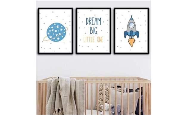 Dream Big One Dekoratif Resimli Çerçeve 3 Lü Set 15X21 Cm