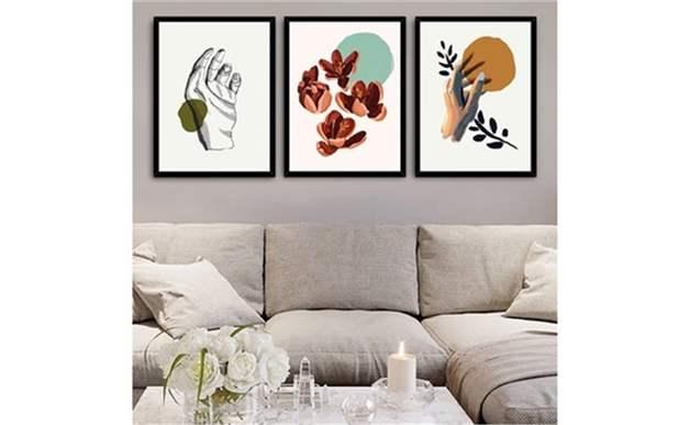 Sanatsal Eller Dekoratif Resimli Çerçeve 3 Lü Set 15X21 Cm