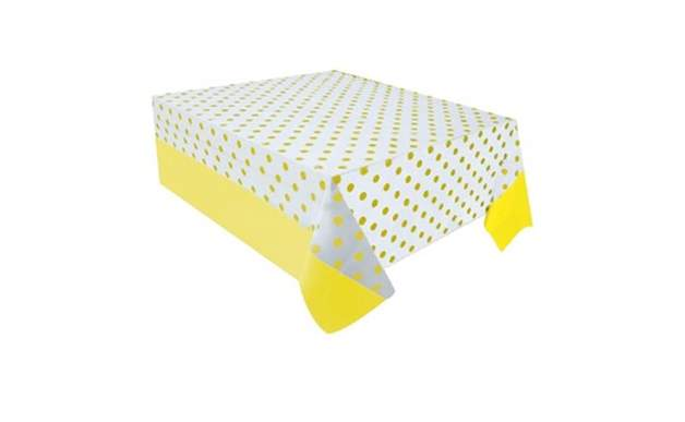Sarı Puantiyeli Plastik Masa Örtüsü 137X182 Cm