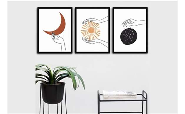 Ay Ve Güneş Meditasyon Dekoratif Çerçeve 3 Lü Set 20X30 Cm